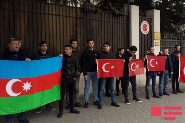 В Тбилиси азербайджанцы организовали акцию в поддержку агрессии Турции в Африне